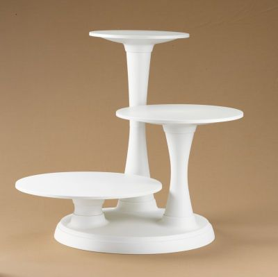 """3-Tier Pillar Cake Stand distinctive cascading display for elegant presentation of cakes, mini cakes, appetizers & more - features locking pillars in a secure base for stable support of tier heights; clean construction.  -- 15.75"""" off-white plastic base; 3 pillars—: 5.75"""", 12.75"""" & 19.5"""" high; 3 plate supports & plates (for up to 10"""", 12"""" & 14"""" cakes)"""