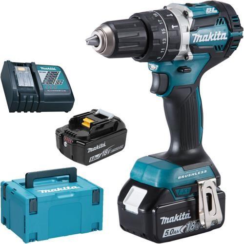 Makita Dhp484rtj Lxt 18v Brushless Combi Drill With 2x 5ah Batteries In 2020 Makita Tools Drill Makita