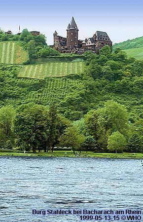 Burg Stahleck bei Bacharach am Rhein.                                                                                                                                                     Mehr