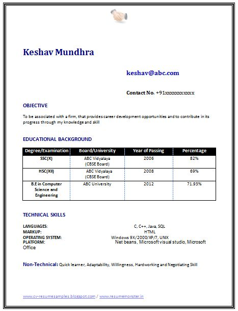 resume format freshers happytom co
