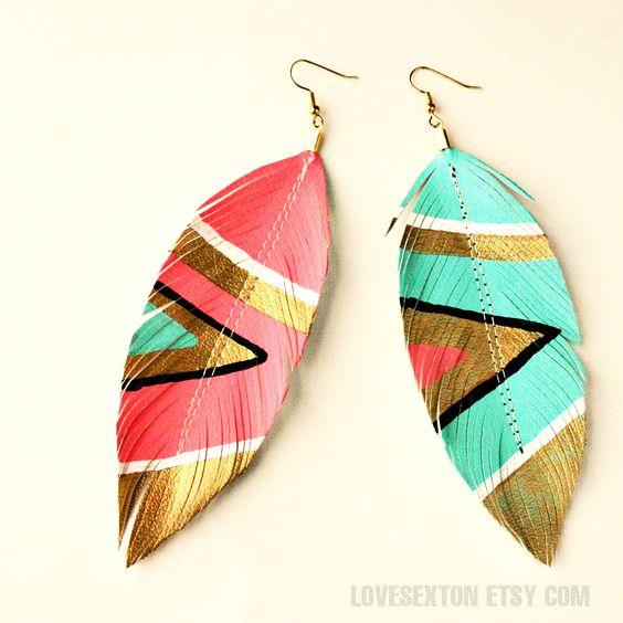 neon aztec tribal chevron feather earrings.
