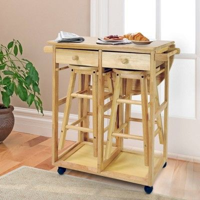 3pc Breakfast Cart Set With 2 Stools Wood Natural In 2021 Kitchen Island Storage Kitchen Cart Drop Leaf Table