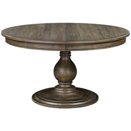 Karlin Wood Top Pedestal Dining Table - #3V912 | LampsPlus.com