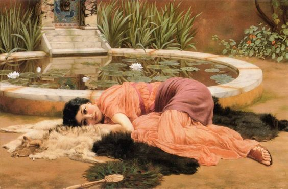 Note the steps down from the water spout to temper the splash/sound. Sir John William Godward, Dolce far Niente [1520X1000]
