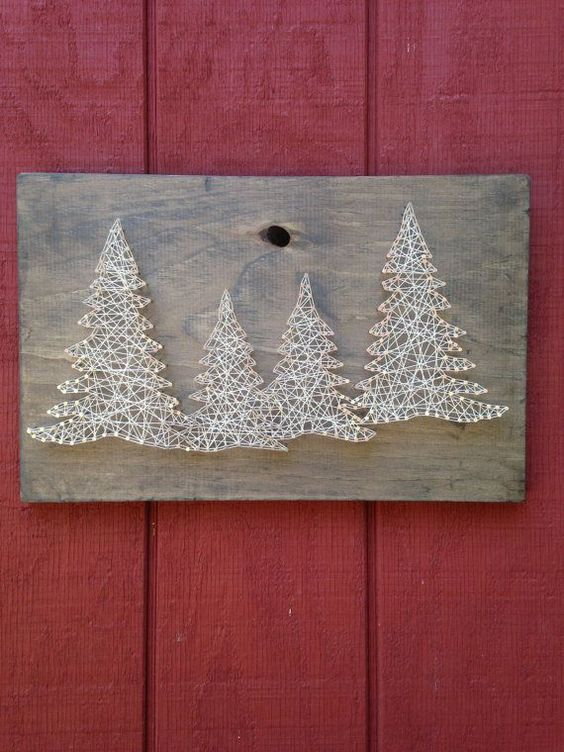 Pine Tree String Art Trees Woods Outdoors by CrookedTreeTraders: