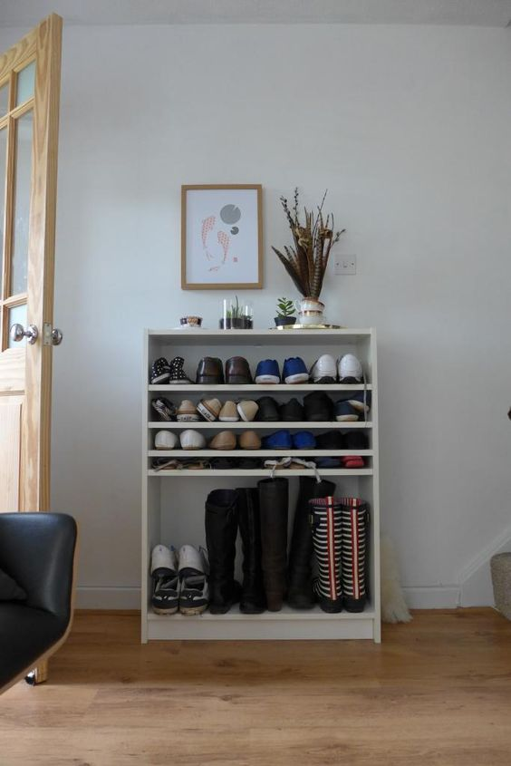 For front entry. made forMe: Billy bookcase improvements: shoe rack