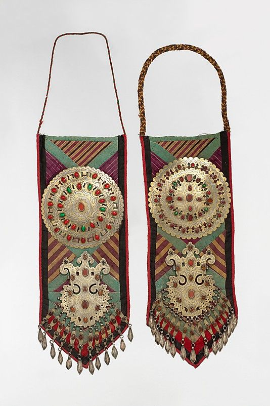 Clothing Panel ~     ate 19th–early 20th century  Geography:      Central Asia or Iran  Medium:      Disc-shaped pectoral jewelry mounted on felted cotton piecework and block printed cotton fabric. Silver discs, fire gilded with engraving/punching, table cut carnelians, glass stones, and embossed pendants.