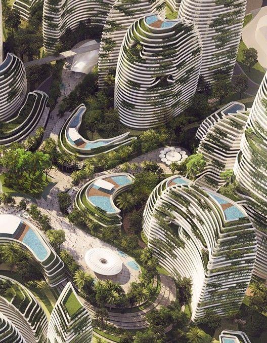 Gallery Of Lava Reveals Lush Alternate Scheme For Malaysian Forest City 3 A Gallery Of Lava Reveals L Modern Arkitektur Hangande Tradgard Arkitektur