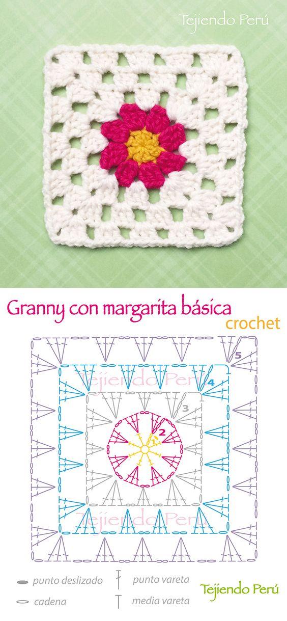 Crochet: diagrama de un lindo granny o cuadrado con un flor de margarita bбsica en el centro! En el enlace pueden ver el video del granny bбsico para que tengan una idea de cуmo tejer a partir de la hilera 3!