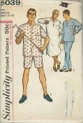 """An unused original ca. 1963 Simplicity Pattern 5039.  The nightshirt has a V-shaped neckline finished with a 2"""" band and a back neck facing. Long st in sleeves are finished with sleevebands. Lower edge of shirt is shaped. V.1 pajama top is same as nightshirt excepting a straight lower edge. V. 3 pajama top is collarless with short set-in sleeves and front button closing. Nightshirt and both tops have a pocket stitched to upper left front."""
