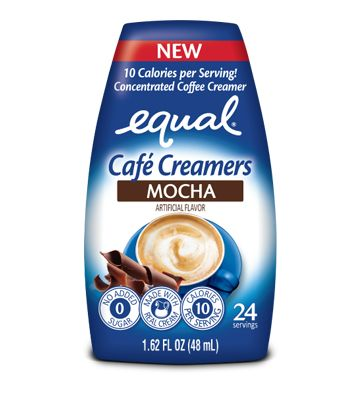 Equal® | Chocolate Mocha Flavor Coffee Creamer | Ingredients: cream, vegetable glycerin, natural and artificial flavors; contains 2 or Less of dipotassium phosphate, polysorbate 60, Mono and digycerides, SUCRALOSE, sucrose esters, potassium sorbate (Pre