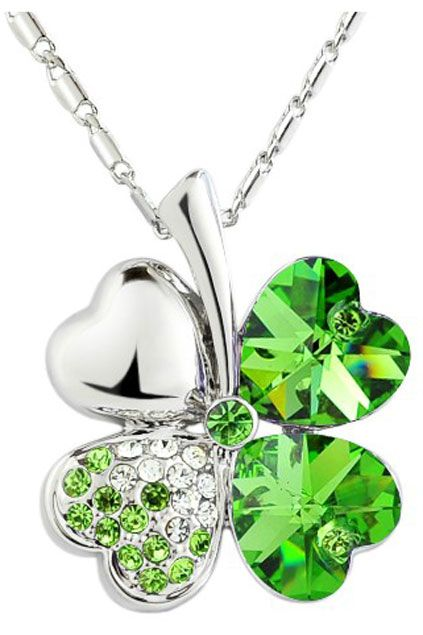 Green Shamrock With Heart Crystal Pendant Sterling Silver Necklace.