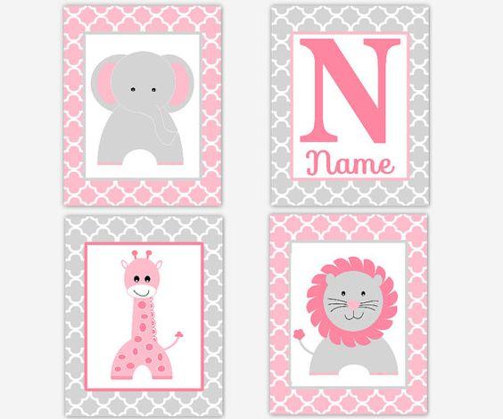 Baby Girl Nursery Decor Pink Gray Elephant by DezignerheartDesigns