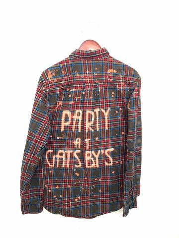 "Great Gatsby Shirt, ""Party at Gatsby's"". Bleached plaid flannel, hand made. OOAK. Unisex. BambiAndFalana.com"