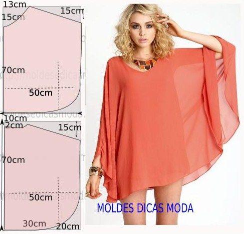 Faça a analise de forma detalhada do desenhe do molde de túnica. Túnica simples e bela, veste de forma descontraída e elegante.: