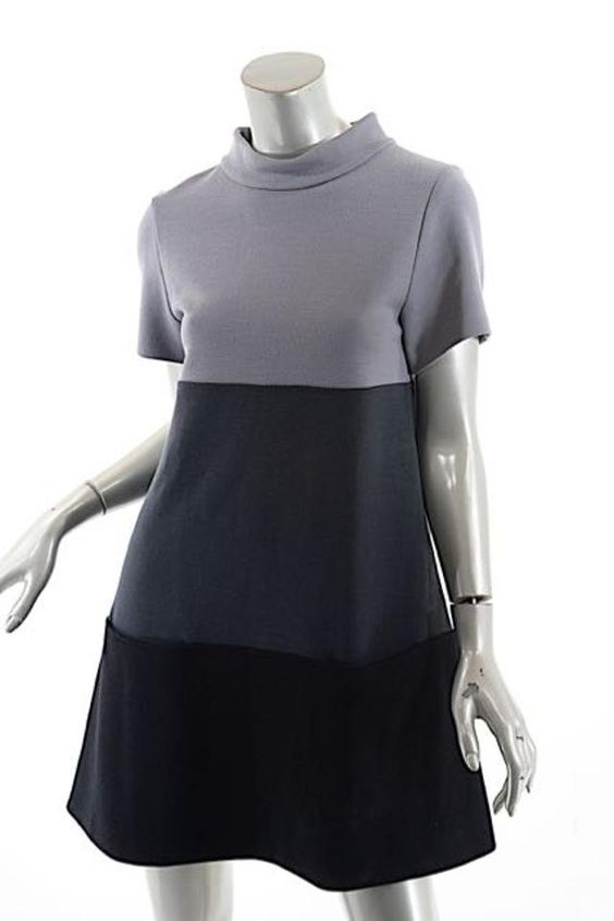 Lisa Perry short dress Grey Black Color Block on Tradesy