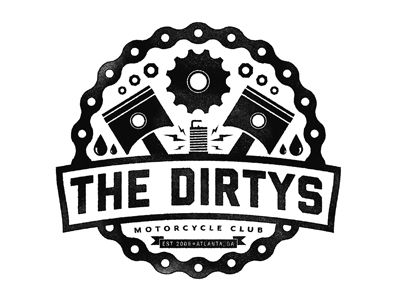 The Dirtys Motorcycle Club logo by Justin Pervorse.