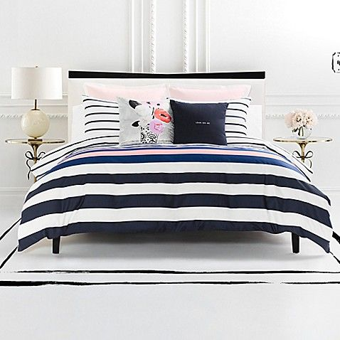 Dress Your Bed In Unique Style With The Kate Spade New York Chesapeake Stripe Duvet Cover Set Decked Out In C Comforter Sets Luxury Bedding Sets Striped Duvet