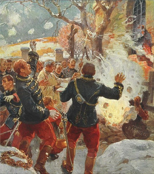 R.A. HÖGER: Ein durch feindliche Granaten gestörtes Begräbnis eines k.u.k. Obersten bei Yasch in Galizien (Herbst 1914).