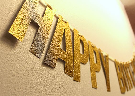 Diy happy birthday glitter banner mint love social for Diy letter banner