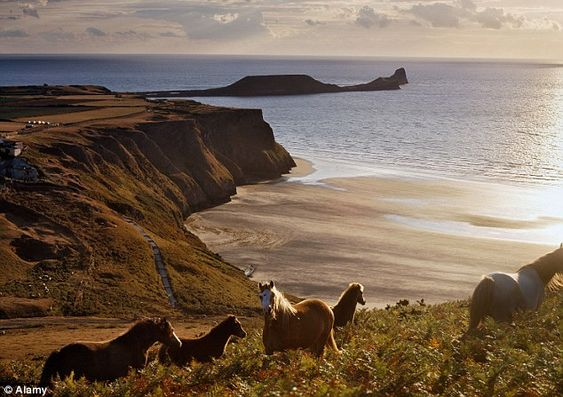 Stunning views: Rhossili Bay enjoys a glorious vista of the Worm's Head and across the sea to North Devon