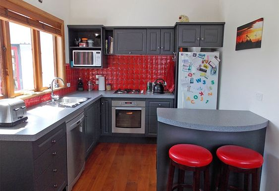 and more red walls grey cabinets kitchen walls google search kitchens