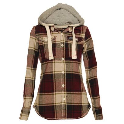 Superdry Girls Red Hooded Lumberjack Shirt... So me, with a pair of slouch jeans and white chucks or should I say a Converse... Xx