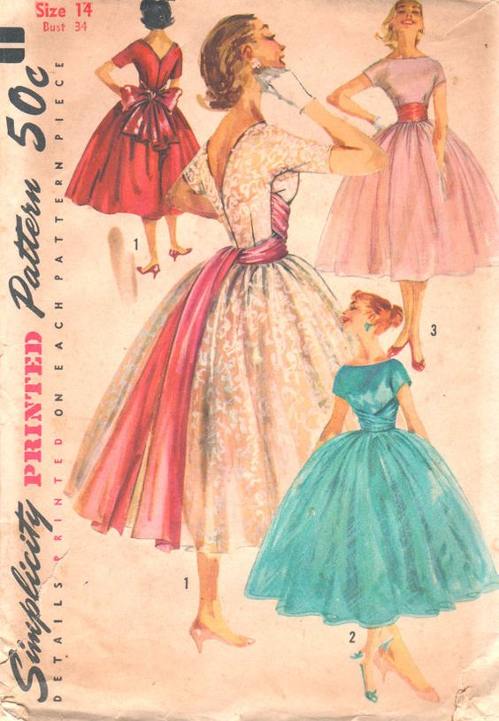 Simplicity 1795 1950s Misses Ballerina Length Cocktail DRESS Low V Nack and Attached Cummerbund womens vintage sewing pattenr by mbchills