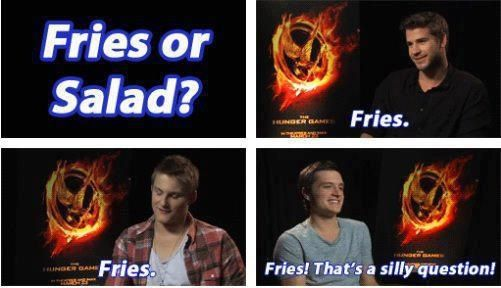 """Hunger Games interview with Gale, Cato, and Peeta. """"That's a silly question!"""""""