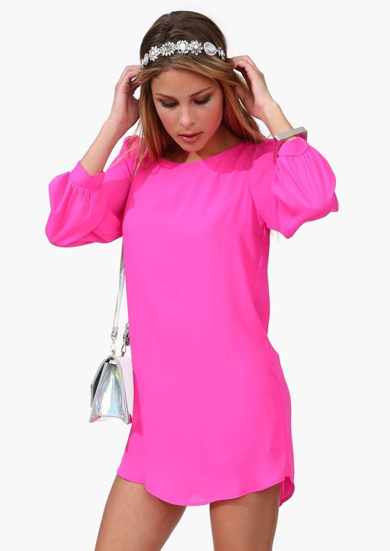 Neon pink dresses Pink dress and Never look back on Pinterest