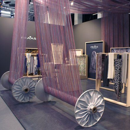 """FRAAS, The Scarf Company,Germany, exhibition stand at Bread&Butter, """"Made in Germany"""", pinned by Ton van der Veer"""