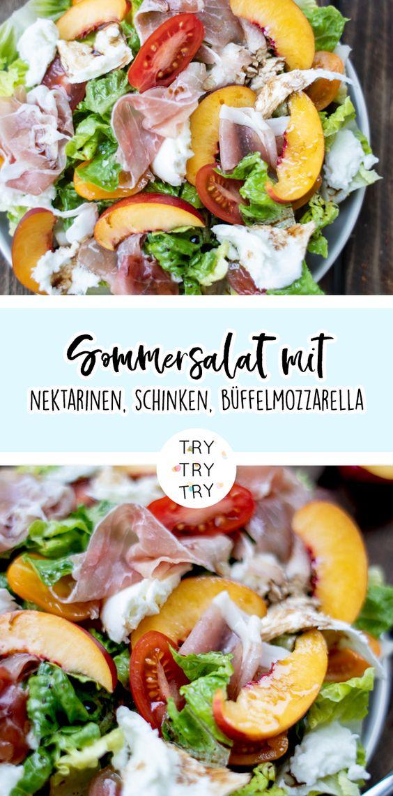 Sommersalat mit Nektarinen, Parmaschinken und Büffelmozzarella