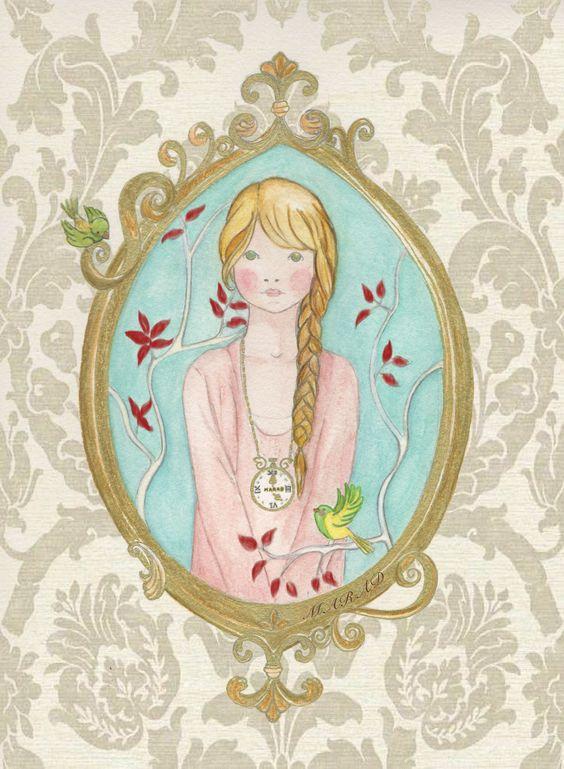 Acuarela. Ilustración de corte romántico.https://www.facebook.com/pages/Marad-Ilustraci%C3%B3n/429474490471956?ref=hl