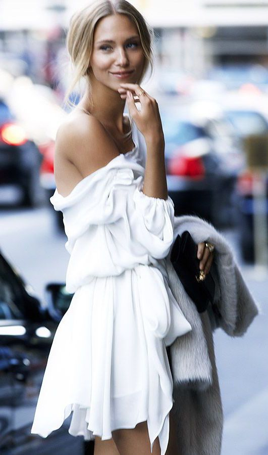 #street #style white off-the-shoulders dress @wachabuy: