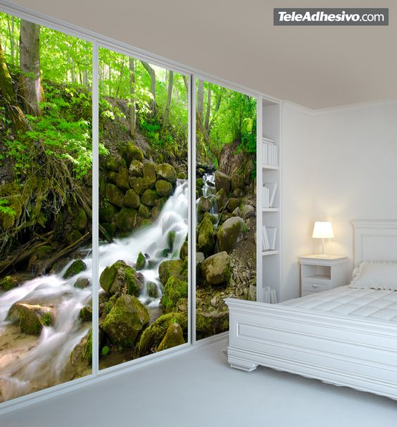 Pin by erica villatoro on murales pinterest cascadas for Mural para pared dormitorio