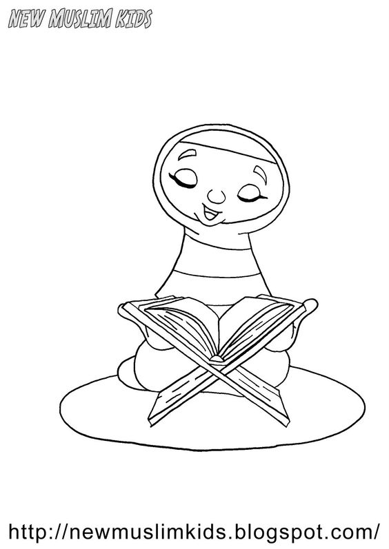girl reading quran coloring page