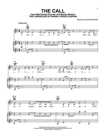 regina spektor the call sheet music pdf