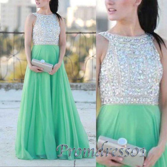 Prom dress 2016,Elegant mint green prom dress for teens, beaded long formal dress #coniefox #2016prom