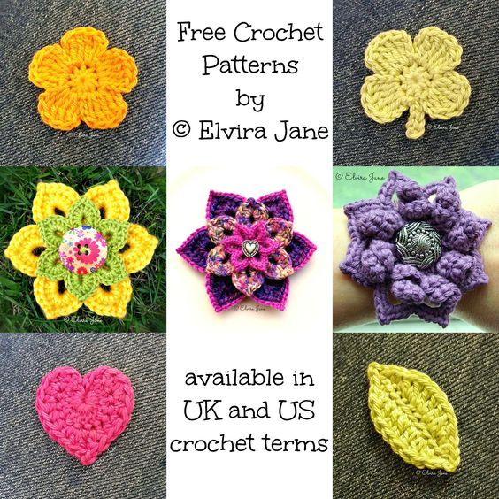 Current range of free crochet patterns designed by © Elvira Jane. For details on how to obtain copies, click on the image and you will be re-directed to Elvira Jane's Facebook page. Other patterns by Elvira Jane are also available to purchase, so this is a great way to try-before-you-buy, to see if you like the style of these patterns.