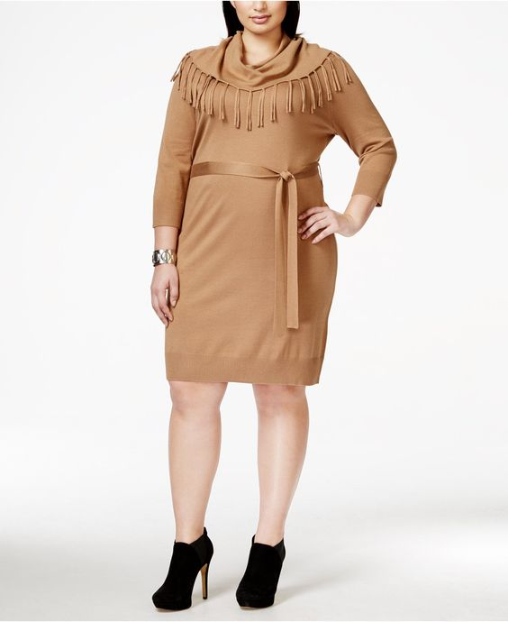 NY Collection Plus Size Fringed Cowlneck Belted Sweater Dress ...