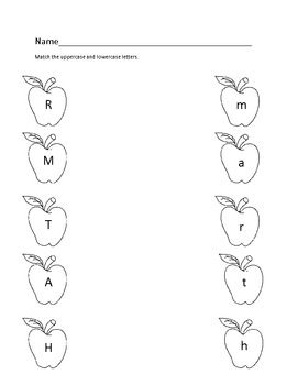 Apple Alphabet Match Worksheet | September Ideas | Pinterest ...