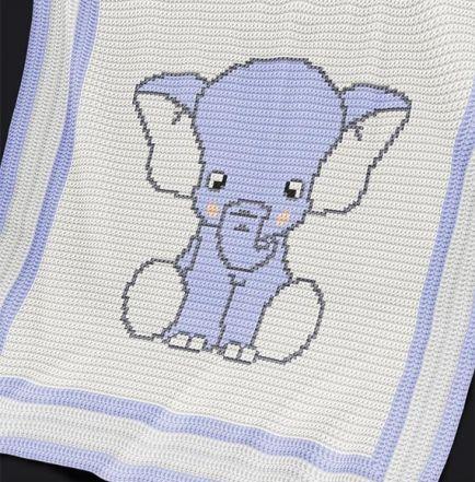 Crochet Pattern Baby Blanket / Afghan - Blue Elephant ...