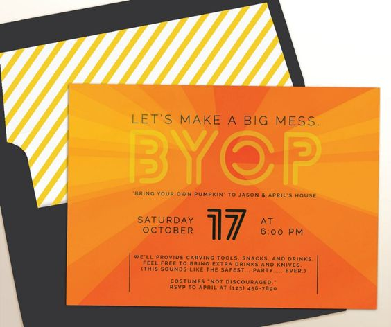 Throw a pumpkin carving party with these cool invites.