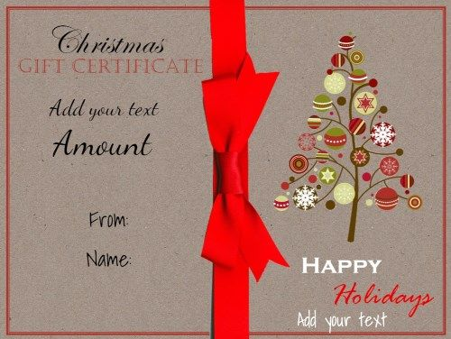 Free printable Christmas gift certificate template Can be - christmas gift vouchers templates