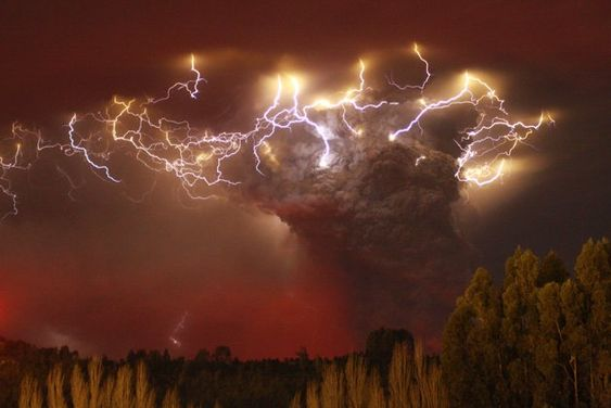 Volcanic Lightning:  There are at least two types of volcanic lightning, a new radio-mapping study found. One occurs at the mouth of the volcano, and the other—as shown over Chile's Puyehue-Cordón Caulle volcano complex in 2011—electrifies the heights of the plume, possibly as rising water becomes a mix of droplets and ice-coated ash particles. Photograph by Carlos Gutierrez, Reuters: