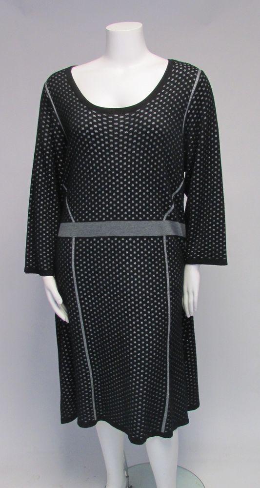 Lane Bryant Black W / Silver Dots 3/4 Sleeve Sweater Dress Sz 26/28 NWOT #LaneBryant #SweaterDress