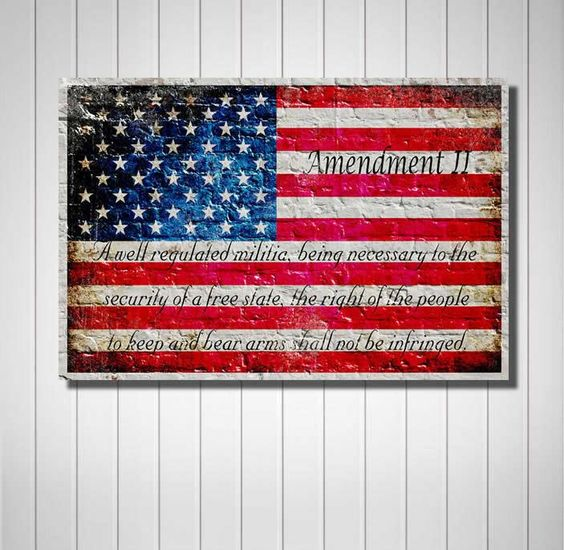 American Flag 2nd Amendment Horizontal Print On Canvas Hung On Wall Filipino Tattoos American Flag Painting Flag Art