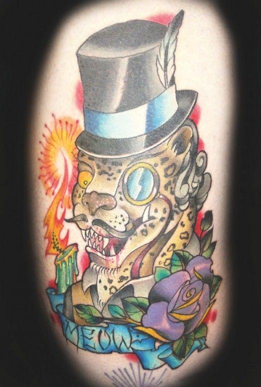 Fancy leopard by Travis Brown #InkedMagazine #leopard #meow #fancy #Inked #tattoo #tattoos