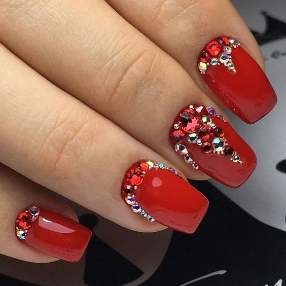 60 Nail Art Design In Red Color Ideas Red Nail Designs Red And