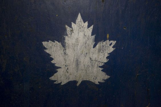 An old style rendition of the Toronto Maple Leafs logo is painted on a large box abandoned on the second level of the Maple Leaf Gardens in September 2009. (Bernard Weil/TORONTO STAR)